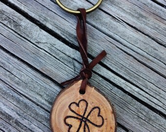 Wood Burned Shamrock Heart Keychain