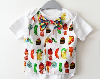 Baby Boy Clothing vest onesie waistcoat bowtie onsie babygrow - The Very Hungry Caterpillar