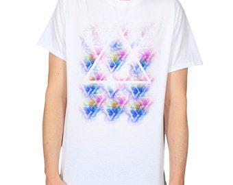 Rainbow Colours Triangles White T-Shirt