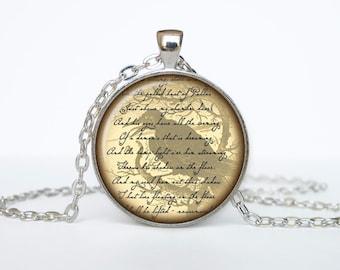 Edgar Allan Poe necklace Edgar Allan Poe qoutes books pendant jewelry beige black brown