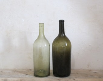 One Large Antique French Wine green Glass bottle vintage - Bordeaux