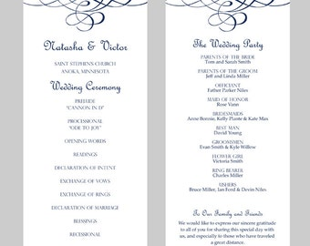 Wedding Program Template – Tea Length- Flourish Calligraphy (Navy Blue)-  Instant Download - Editable MS Word File