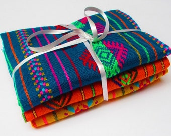 Mexican Fabric Bundle, 3 Half Yards, Aztec Fabric, Tribal Fabric by the Yard, Embroidered Fabric, Fabric Bundles, Fabric From Mexico, Fiesta