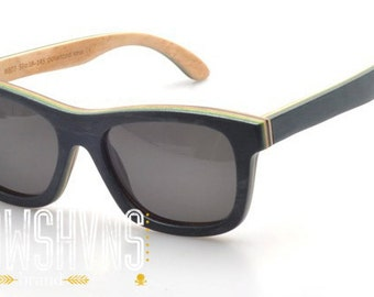 Wood Sunglasses - Eco-Friendly Recycled Black Skateboard Wood Wayfarer Sunglasses | Hand Made from Recycled Wood