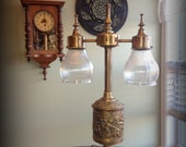 handmade steampunk industrial dimmable playful lamp gaslight style made from vintage and antique recycled parts tesla edison