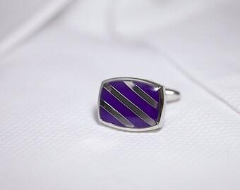 Purple and Silver Diagonal Stripe Cufflinks