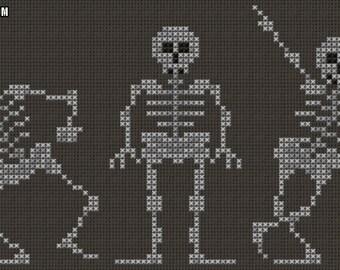 Dancing Skeletons Cross Stitch Pattern