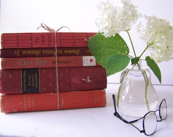 Shabby Red Vintage Book Collection FREE SHIPPING