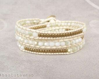 White green crystal wrap bracelet with brass beads on polyester cord, white wrap bracelet, crystal wrap bracelet, triple wrap bracelet