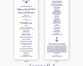Anchor Wedding Programs, Nautical Wedding Programs, Navy Blue Anchor Wedding Programs, Ceremony Programs, Order of Service