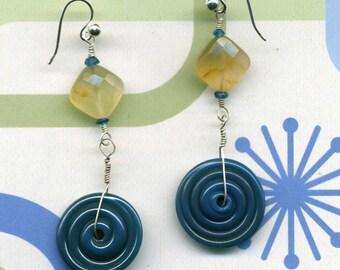 BLUE BIGWHEEL Apatite, Carnelian, Artisan Lampwork, and Sterling Silver Dangle Hook Earrings
