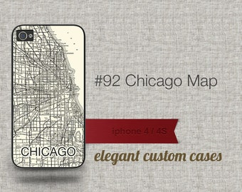 Cell Phone Case Iphone 5 / 5S / 5C 4 / 4S Samsung Galaxy S3 / S4 -Case Map of Chicago Illinois Number 92