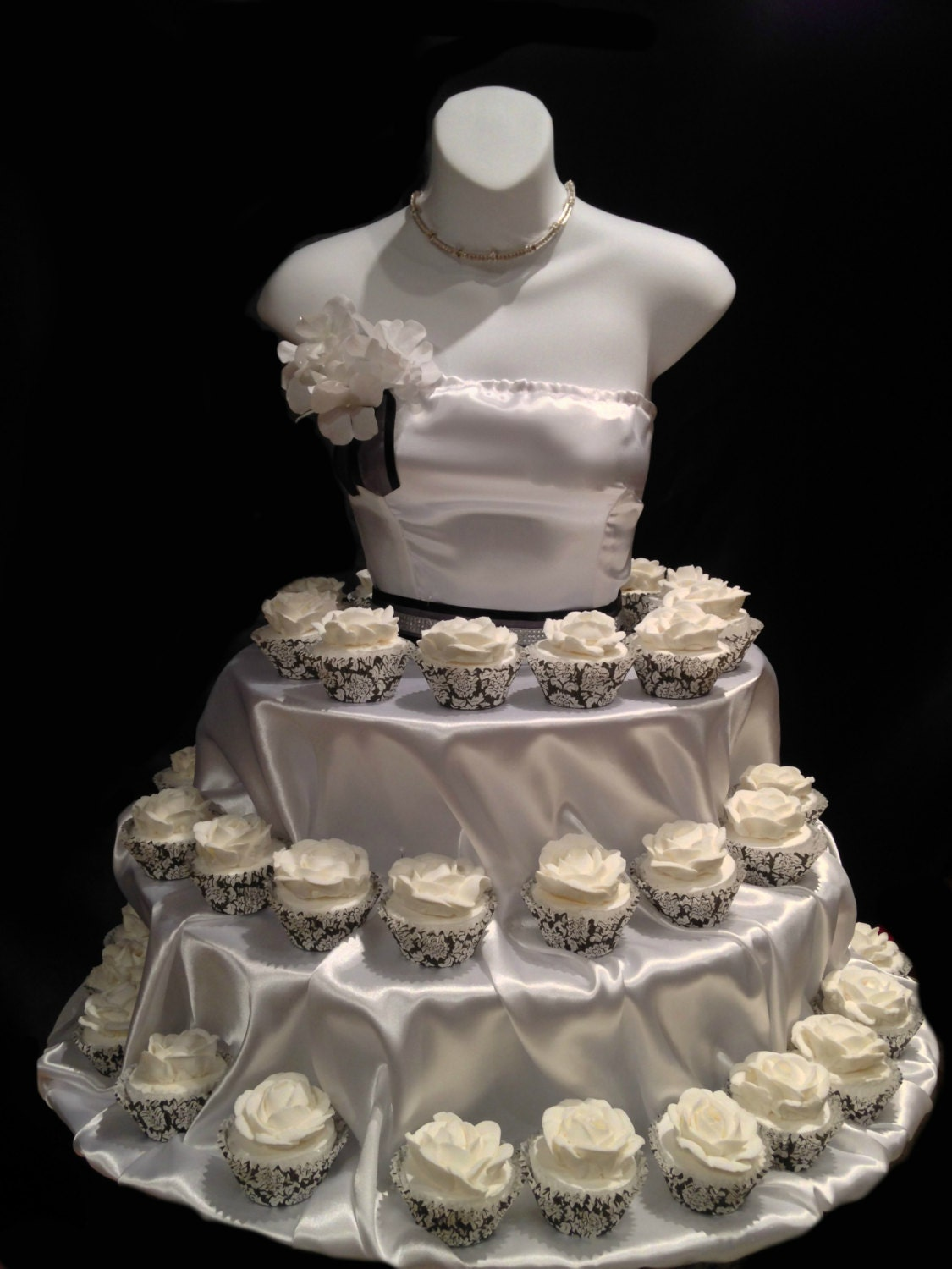 White Couture Cupcake stand for showers bridal by