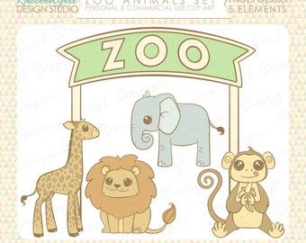 CLEARANCE Zoo Animal Clip Art Set - Personal & Commercial Use