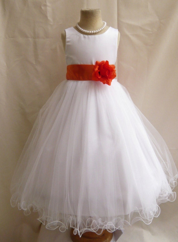 Flower girl dresses white with orange fd0fl by nollacollection for White and orange wedding dress