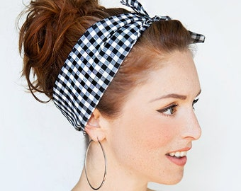 Gingham Headband Pinup Bandana Rockabilly Hair Scarf Dolly Bow Black and White Headband Hair Accessories Retro Hair Wrap Vintage Style