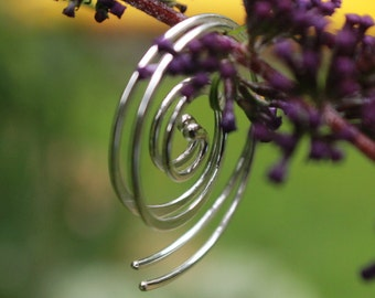 Sterling Spiral Earrings, Silver Dangle Earrings