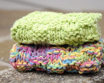 Baby girl washcloth set cotton handmade handknitted candy colours gift