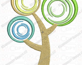 Tree Swirl Leaf Applique Embroidery Design in 4x4 and 5x7 Sizes