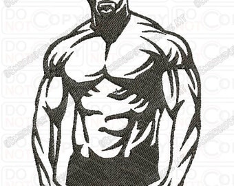 Body Builder Embroidery Design in 3x3 4x4 and 5x7 Sizes
