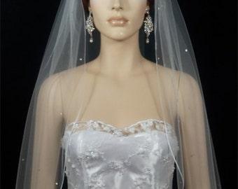 1 Tier White or Ivory Rhinestone Scattered Pencil Edge Veil | 1 layer bridal pencil edge veil