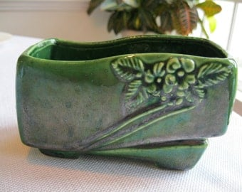 Vintage Green Planter With Flowers