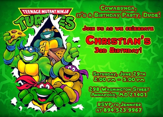 TMNT Ninja Turtles Birthday Party Invitation - Printable File