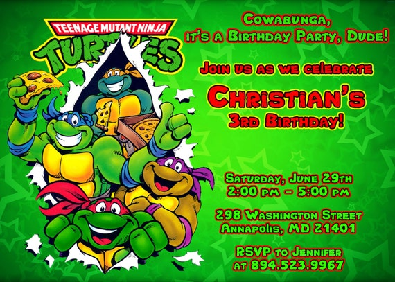 photograph about Ninja Turtles Birthday Invitations Printable named Birthday Social gathering Themes: Teenage Mutant Ninja Turtle Birthday