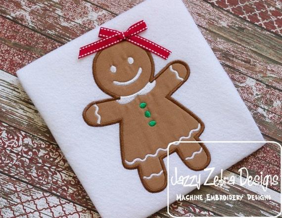 Gingerbread Girl Appliqué embroidery Design - gingerbread woman appliqué design - Christmas Applique Design - ginger bread woman Appliqué
