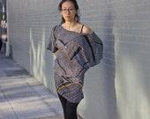Vintage 1970s Funky Geometric Kimono Dress - RESERVED