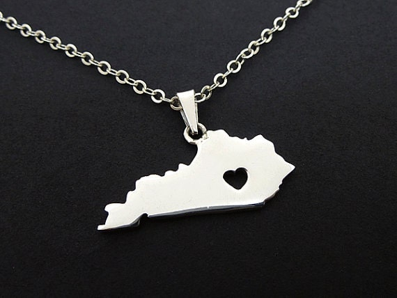 kentucky state necklace sterling silver by rosiedesigns562