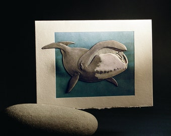 Bowhead Whale Card. Valentine. Birthday. Embossed. Letterpress. Single card. Blank inside.