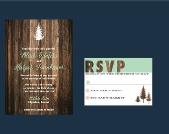 Evergreen Wedding Invitation // DOWN PAYMENT towards Printed Sets // Rustic Wedding, Wooden Wedding, Forest Wedding