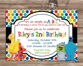 Sesame Street Birthday Invitation, Sesame Street Invitation, Sesame Street Invite, Elmo, Cookie Monster,  Digital Printable, JPG File
