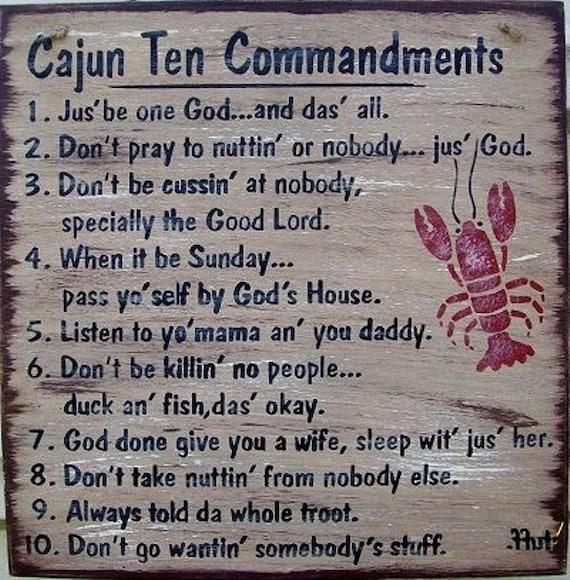 Cajun Ten Commandments Size 12 Tall X 12 Color