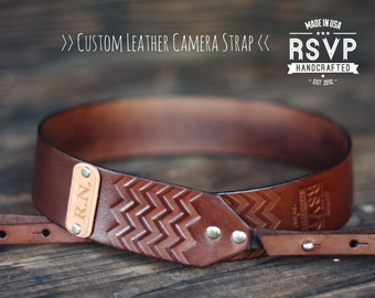 SALE 20% OFF Custom Leather Camera Strap, Handmade personalized gift, Brown stain, Chevron, hipster zig zag, Custom text, name initials