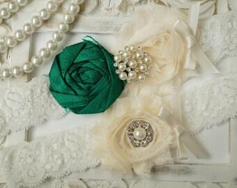 Wedding Garter Set, Bridal Garter Set, Vintage Wedding, Ivory Lace Garter, Crystal Garter Set, Something Blue