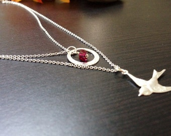 Bird Sterling Silver Necklace with Cristal-Two strands- Mini Charms