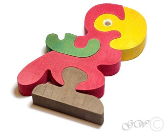 Wooden Puzzle Parrot, Wooden toys. Wooden Animal Puzzle M207