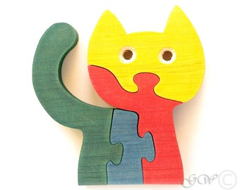 Wooden Puzzle Cat, Wooden toys. Wooden Animal Puzzle M210