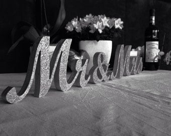 Wedding Reception Silver Glitter Sign MR and MRS , Wedding Decoration, Wedding Signs,