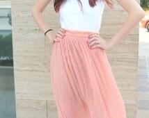 Long Loose Solei Skirt Summer High Waist  Maxi Skirt / EXPRESS SHIPPING / MD 10106