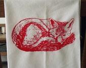 "Red Fox Screenprint flour sack towel- 29"" x 29"" - Ready to ship"