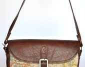 Genuine Leather and World Map Atlas Print Bag
