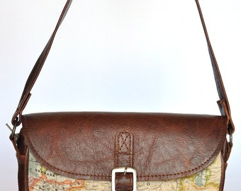 Genuine Leather and World Map Atlas Print Bag.on special sale for new year
