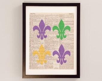 Vintage Fleur De Lis Dictionary Print - Mardi Gras Art - Print on Vintage Dictionary Paper - French Print, New Orleans, St. Louis Art