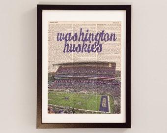 Washington Huskies Dictionary Art Print - Husky Stadium - Print on Vintage Dictionary Paper - University of Washington Football, Seattle