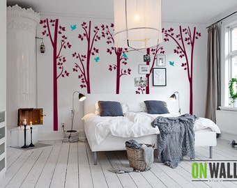 Birch Trees Vinyl Wall Decals Large Wall Mural Woodland Decoration Forest Branches Removable Stickers Bedroom Art Floor to Ceiling  K021