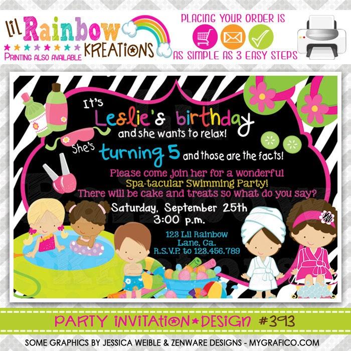 393: DIY Zebra Print Spa 5 Party Invitation Or Thank You