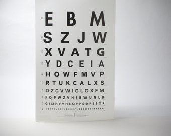 Letterpress Fonts Eye Chart Poster Type-Face